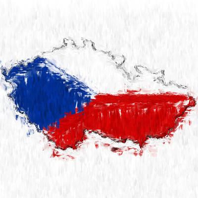 Czech Republic Painted Flag Map Print by Antony McAulay