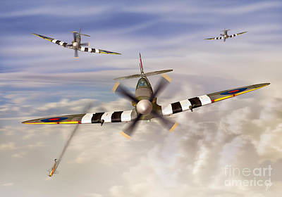 Ww11 Aircraft Digital Art - D-day Spitfires by Linton Hart
