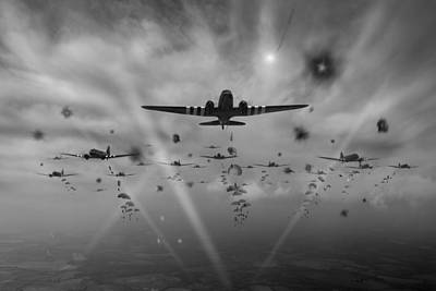 Tonga Digital Art - D-day Paratroop Dakotas Black And White Version by Gary Eason