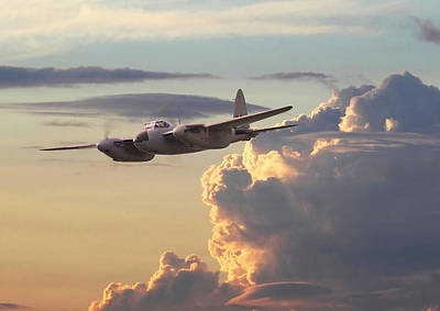 Sunset Digital Art - D  H Mosquito - Pathfinder by Pat Speirs
