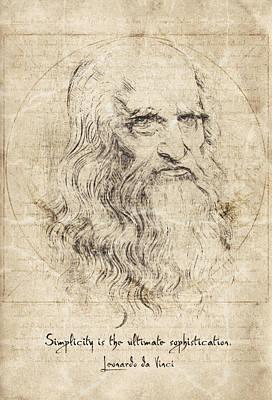 Da Vinci Quote Print by Taylan Soyturk