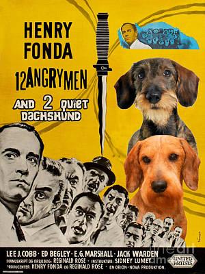 Hotdogs Painting - Dachshund Art Canvas Print - 12 Angry Men Movie Poster by Sandra Sij