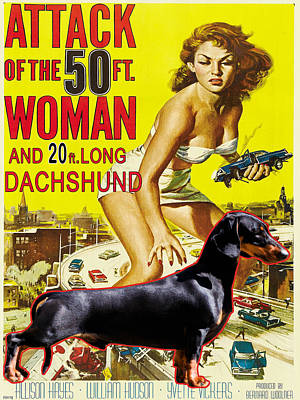 Hotdogs Painting - Dachshund Art Canvas Print - Attack Of The 50ft Woman Movie Poster by Sandra Sij