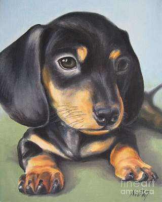 Dachshund Puppy Print by Jindra Noewi