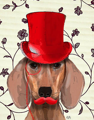 Dachshund Red Hat And Moustache Print by Kelly McLaughlan