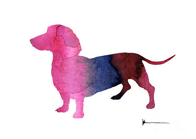 Dachshund Art Mixed Media - Dachshund Silhouettes Painting Watercolor Art Print  by Joanna Szmerdt