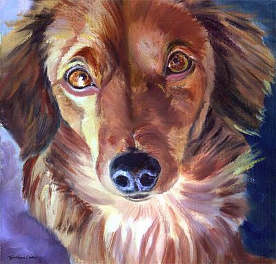 Dachshund Sparkle Eyes Print by Lyn Cook