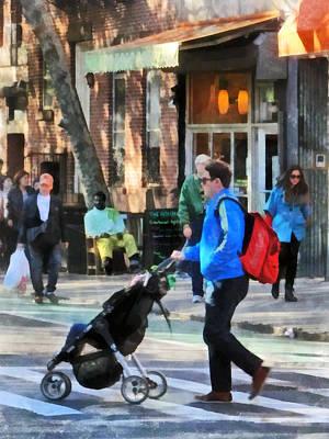 Daddy Pushing Stroller Greenwich Village Print by Susan Savad