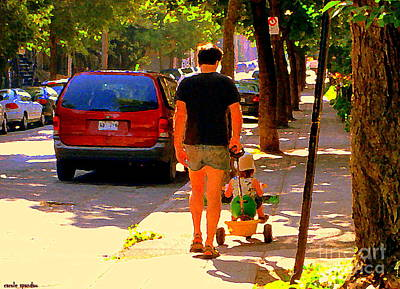 Daddy's Little Buddy Perfect Day Wagon Ride Montreal Neighborhood City Scene Art Carole Spandau Print by Carole Spandau