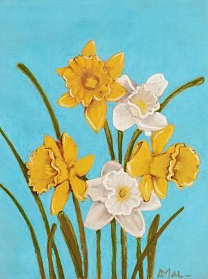 Spring Painting - Daffodils by Anastasiya Malakhova
