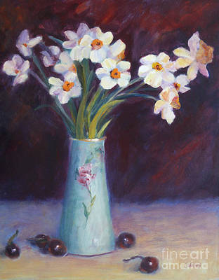 Still Life With Daffodils Painting - Daffodils And Cherries by Carolyn Jarvis