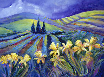 Daffodils Painting - Daffodils And Stormclouds by Jen Norton