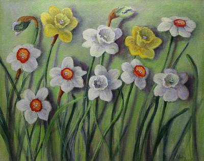 Spring Bulbs Painting - Daffodils Swaying by Randol Burns