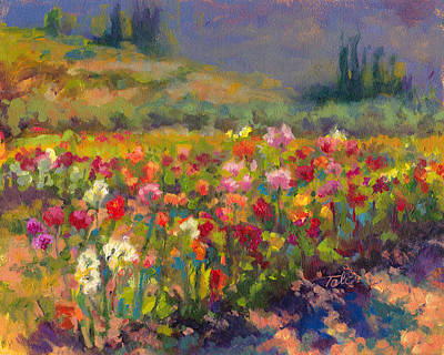 Multi Colored Painting - Dahlia Row by Talya Johnson