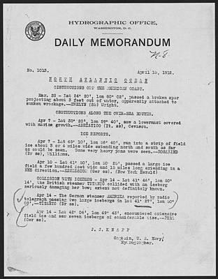 Daily Memorandum Reporting Titanic Disaster Print by Tilen Hrovatic
