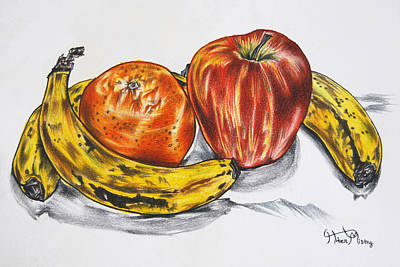 Tangerine Drawing - Daily Needs by Hiten Mistry