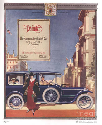 Nineteen-tens Drawing - Daimler 1919 1910s Uk Cars by The Advertising Archives