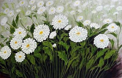 Acrylic Painting - Daisies by Sheela Padmanabhan