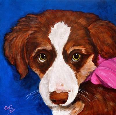 Puppy Dog Eyes Painting - Daisy by Debi Starr