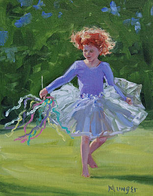 Dancing Girl Painting - Daisy In Purple by Roseann Munger