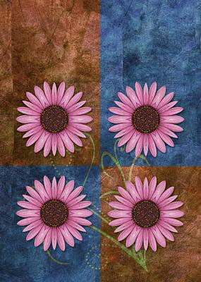 Flower Design Digital Art - Daisy Quatro V04 by Variance Collections