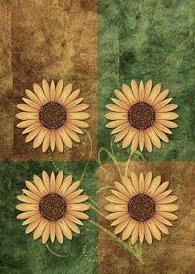 Flower Design Digital Art - Daisy Quatro V12c03 by Variance Collections