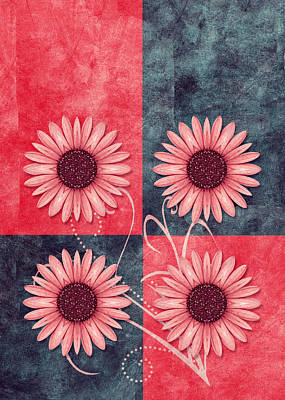 Flower Design Digital Art - Daisy Quatro V13b by Variance Collections