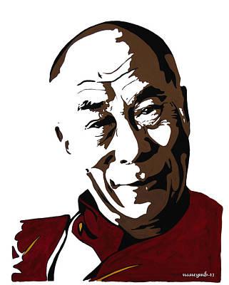 Tibetan Buddhism Mixed Media - Dalai Lama by Nancy Mergybrower