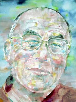 Tibetan Buddhism Painting - Dalai Lama - Watercolor Portrait by Fabrizio Cassetta