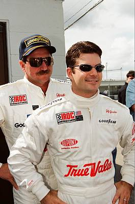 Jeff Photograph - Dale Earnhardt Playing Jokes On Jeff Gordon by Retro Images Archive