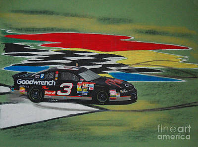 Nascar Drawing - Dale Earnhardt Wins Daytona 500-infield Doughnuts by Paul Kuras