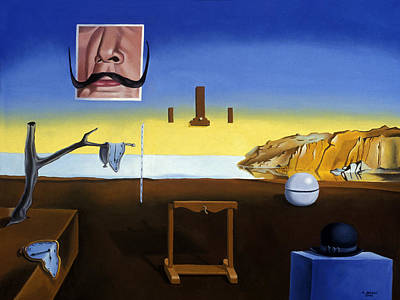 Rene Magritte Painting - Dali S Mustache Magritte S Bowler by Michael Bridges