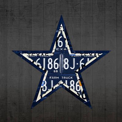 Dallas Mixed Media - Dallas Cowboys Football Team Retro Logo Texas License Plate Art by Design Turnpike