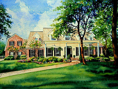 House Portrait Painting - Dallas Home by Hanne Lore Koehler
