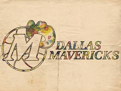 Cavaliers Painting - Dallas Mavericks Vintage Poster by Florian Rodarte