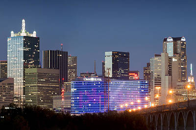 Dallas Skyline Photograph - Dallas Omni Hotel In Blue by Rospotte Photography