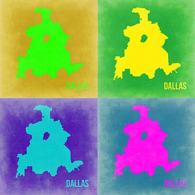Dallas Digital Art - Dallas Pop Art Map 2 by Naxart Studio