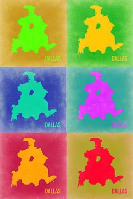 World Map Poster Digital Art - Dallas Pop Art Map 3 by Naxart Studio