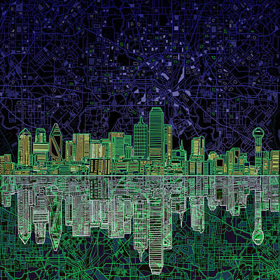 Dallas Skyline Digital Art - Dallas Skyline Abstract 4 by Bekim Art