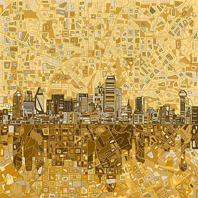 Dallas Skyline Abstract 6 Print by Bekim Art