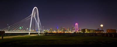 Dallas Skyline Photograph - Dallas Skyline And Margaret Hunt Hill Bridge by David Morefield