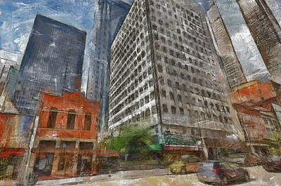 Dallas Skyline Painting - Dallas Skyline by Georgi Dimitrov