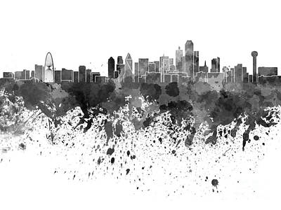 Dallas Skyline Painting - Dallas Skyline In Black Watercolor On White Background by Pablo Romero