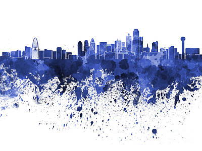 Dallas Skyline Painting - Dallas Skyline In Blue Watercolor On White Background by Pablo Romero