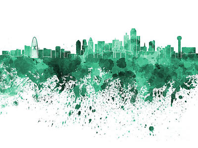 Dallas Skyline Painting - Dallas Skyline In Green Watercolor On White Background by Pablo Romero
