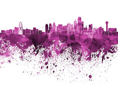 Dallas Skyline Painting - Dallas Skyline In Pink Watercolor On White Background by Pablo Romero