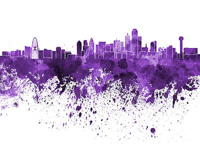 Dallas Skyline Painting - Dallas Skyline In Purple Watercolor On White Background by Pablo Romero