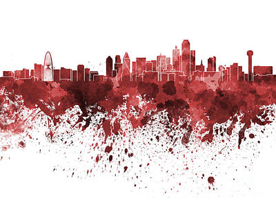 Dallas Skyline Painting - Dallas Skyline In Red Watercolor On White Background by Pablo Romero