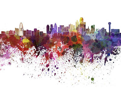 Dallas Skyline Painting - Dallas Skyline In Watercolor On White Background by Pablo Romero