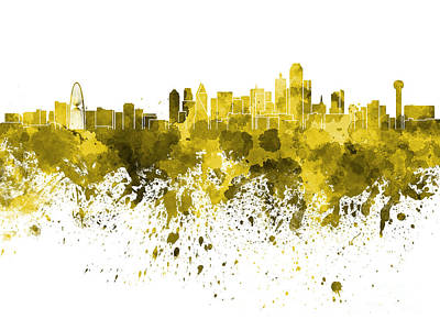 Dallas Skyline Painting - Dallas Skyline In Yellow Watercolor On White Background by Pablo Romero